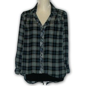 Plaid Chiffon Hi-Lo Collared Blouse by Have